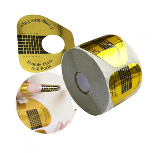 Одноразовые формы для наращивания ногтей 500 шт (широкие, золотые)