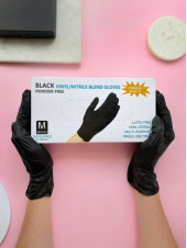 Перчатки черные Wally Plastic, M 50 пар.