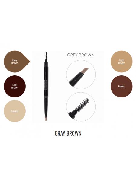 Механический карандаш для бровей со щеточкой Brow Definer (grey brown) цвет серо-коричневый